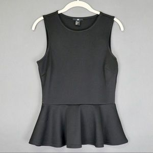 H&M Black Peplum Tank Top Shirt Like New